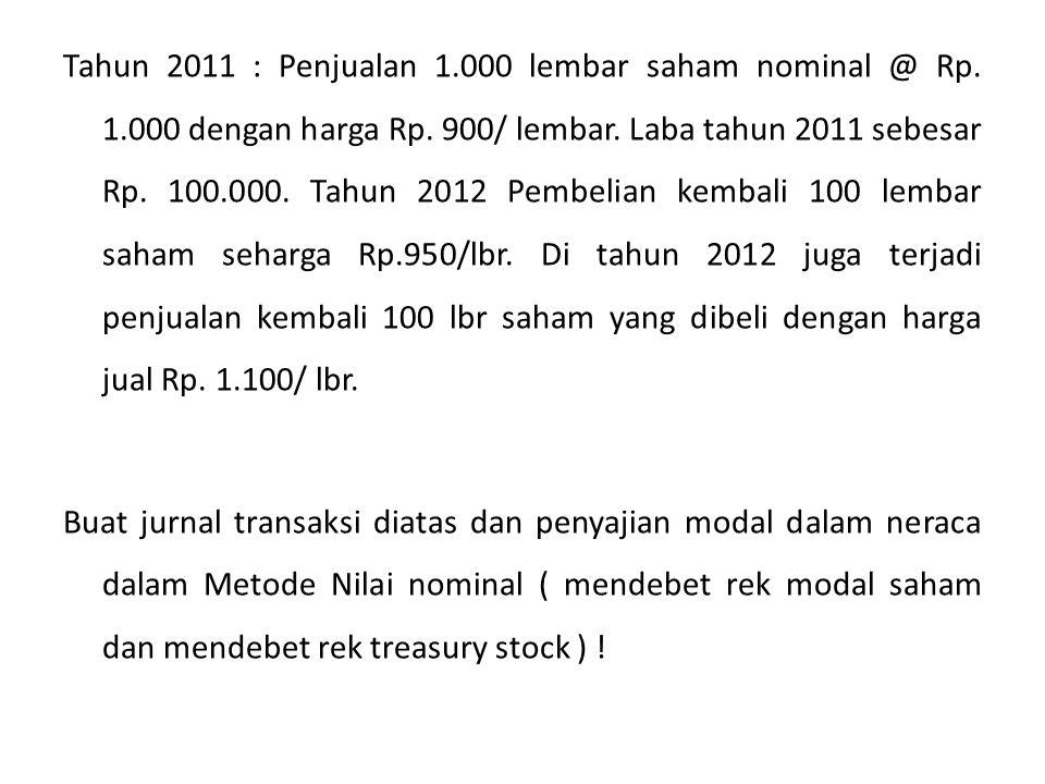 Tahun 2011 : Penjualan 1.000 lembar saham nominal @ Rp.