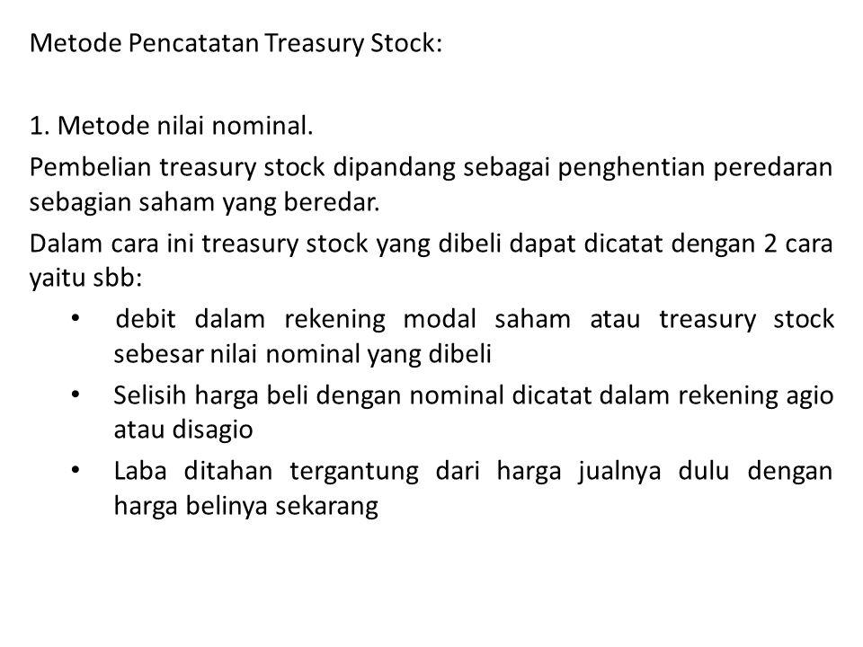 Metode Pencatatan Treasury Stock: 1.Metode nilai nominal.