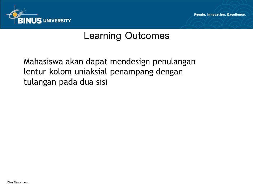 Bina Nusantara Learning Outcomes Mahasiswa akan dapat mendesign penulangan lentur kolom uniaksial penampang dengan tulangan pada dua sisi