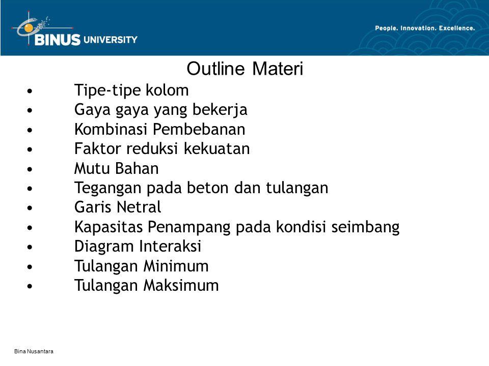Bina Nusantara Outline Materi Tipe-tipe kolom Gaya gaya yang bekerja Kombinasi Pembebanan Faktor reduksi kekuatan Mutu Bahan Tegangan pada beton dan t