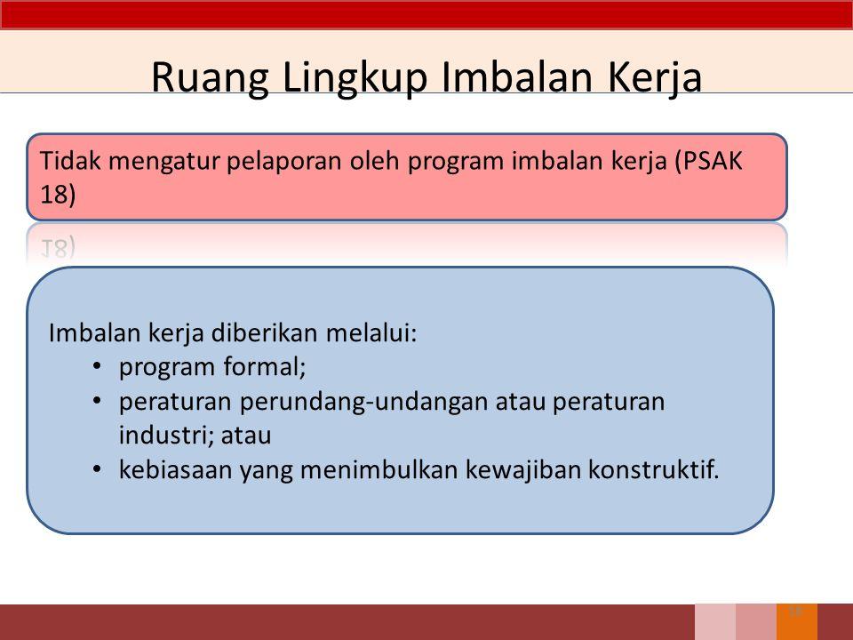 Ruang Lingkup Imbalan Kerja 18 Imbalan kerja diberikan melalui: program formal; peraturan perundang-undangan atau peraturan industri; atau kebiasaan y