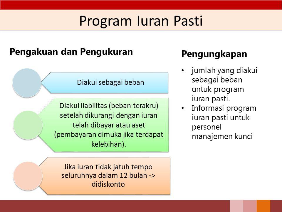 Program Iuran Pasti Pengakuan dan Pengukuran Diakui sebagai beban Diakui liabilitas (beban terakru) setelah dikurangi dengan iuran telah dibayar atau