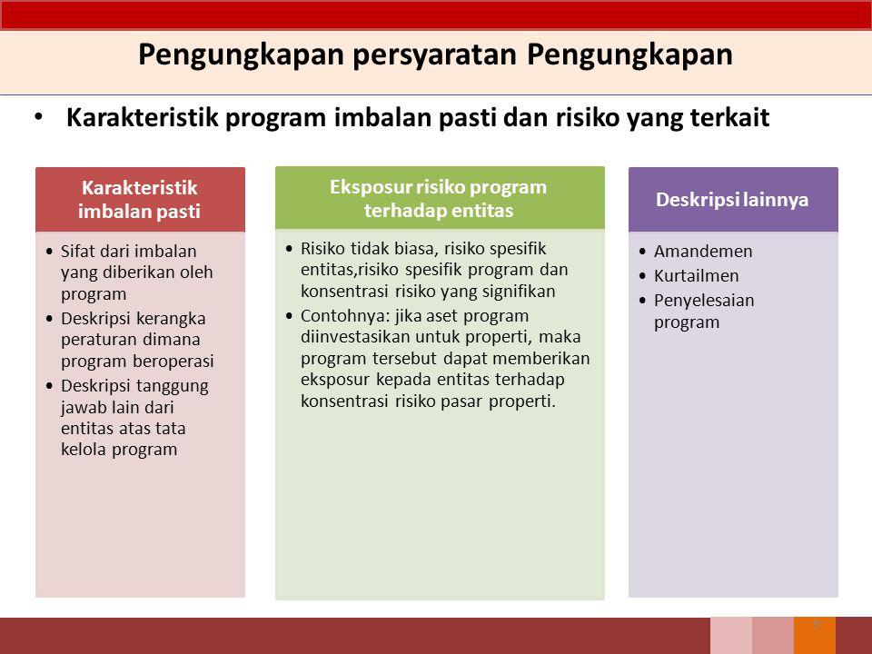 Pengungkapan persyaratan Pengungkapan Karakteristik program imbalan pasti dan risiko yang terkait 9 Karakteristik imbalan pasti Sifat dari imbalan yan