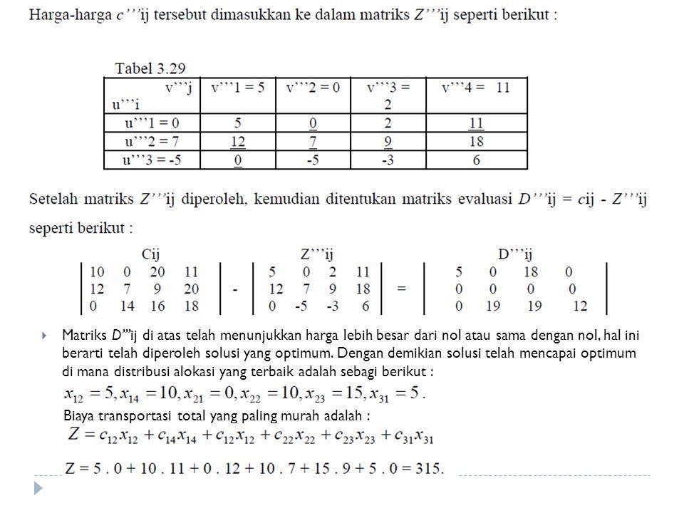  Matriks D'''ij di atas telah menunjukkan harga lebih besar dari nol atau sama dengan nol, hal ini berarti telah diperoleh solusi yang optimum.