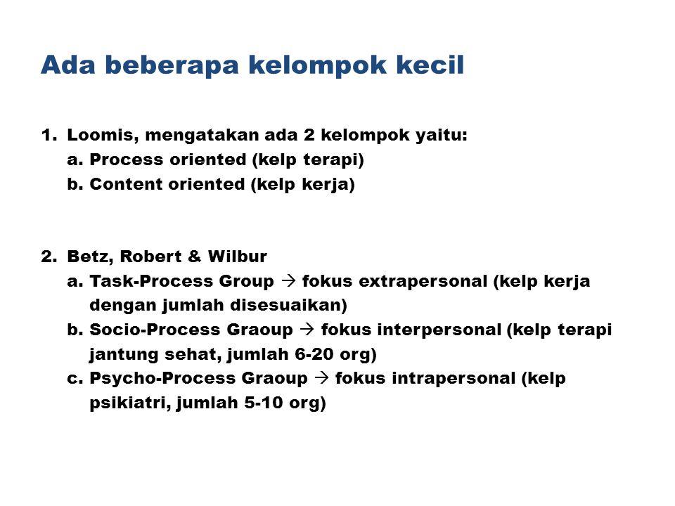 Ada beberapa kelompok kecil 1.Loomis, mengatakan ada 2 kelompok yaitu: a. Process oriented (kelp terapi) b. Content oriented (kelp kerja) 2.Betz, Robe