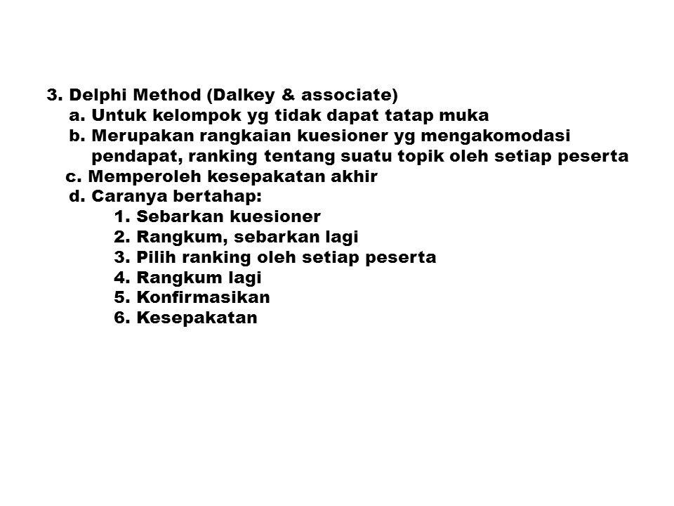 3. Delphi Method (Dalkey & associate) a. Untuk kelompok yg tidak dapat tatap muka b. Merupakan rangkaian kuesioner yg mengakomodasi pendapat, ranking