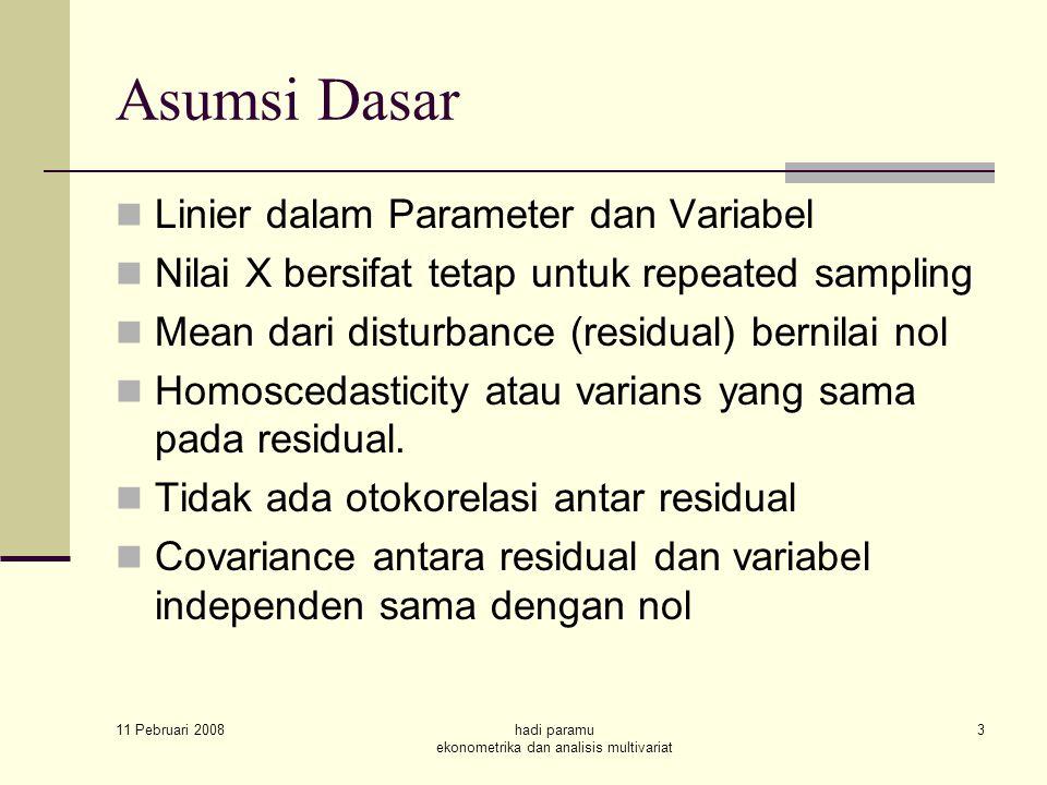 11 Pebruari 2008 hadi paramu ekonometrika dan analisis multivariat 3 Asumsi Dasar Linier dalam Parameter dan Variabel Nilai X bersifat tetap untuk repeated sampling Mean dari disturbance (residual) bernilai nol Homoscedasticity atau varians yang sama pada residual.