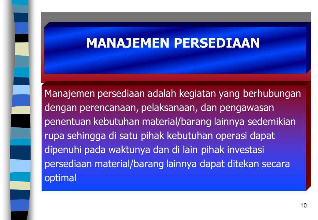 10 Manajemen persediaan adalah kegiatan yang berhubungan dengan perencanaan, pelaksanaan, dan pengawasan penentuan kebutuhan material/barang lainnya s