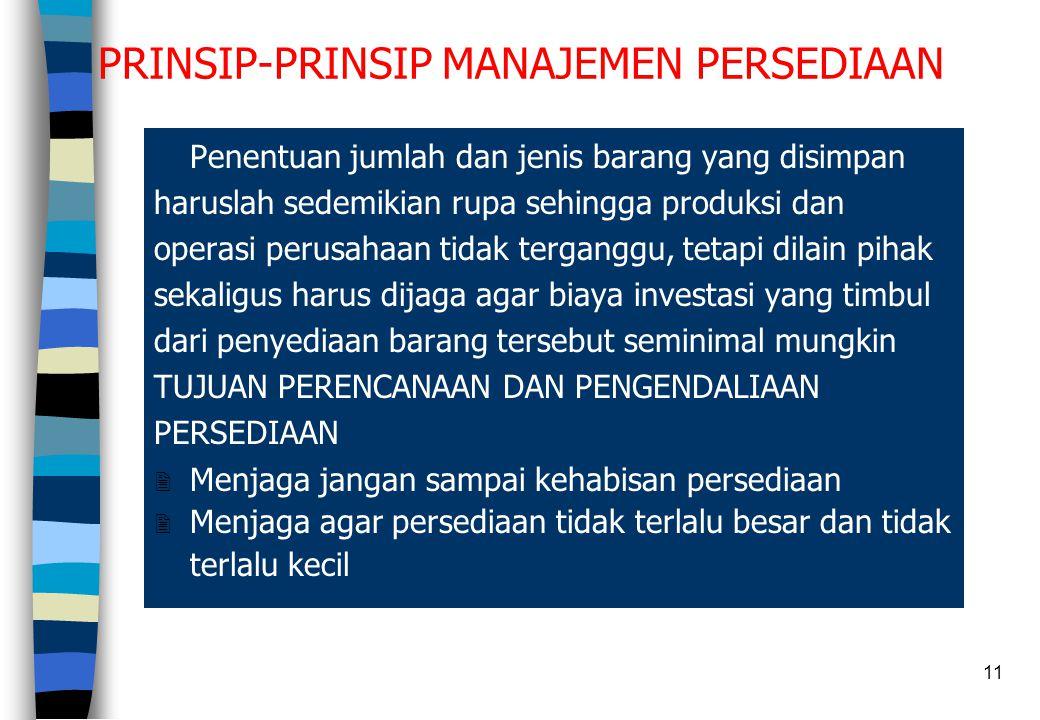 11 PRINSIP-PRINSIP MANAJEMEN PERSEDIAAN Penentuan jumlah dan jenis barang yang disimpan haruslah sedemikian rupa sehingga produksi dan operasi perusah