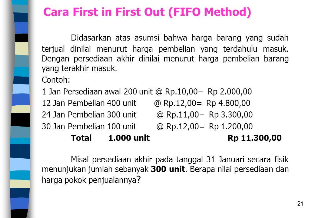 21 Cara First in First Out (FIFO Method) D idasarkan atas asumsi bahwa harga barang yang sudah terjual dinilai menurut harga pembelian yang terdahulu