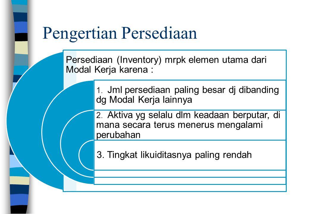 Pengertian Persediaan Persediaan (Inventory) mrpk elemen utama dari Modal Kerja karena : 1. Jml persediaan paling besar dj dibanding dg Modal Kerja la