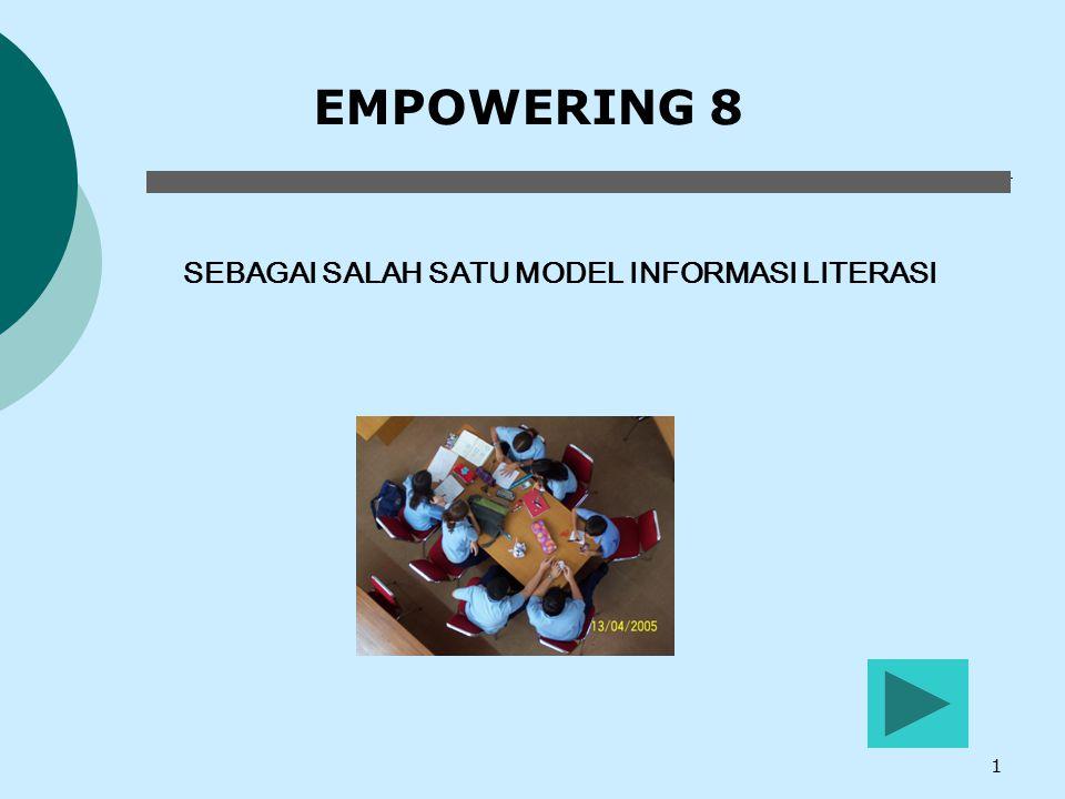 12 Langkah 6  Presentasi  Melakukan latihan untuk mempresentasikan hasil penemuan  Mempresentasikan informasi kepada pendengar yang tepat  Menyajikan (display) informasi disesuaikan dengan audience  Mempersiapkan perlengkapan presentasi dengan baik Empowering 8 Siswa harus mampu