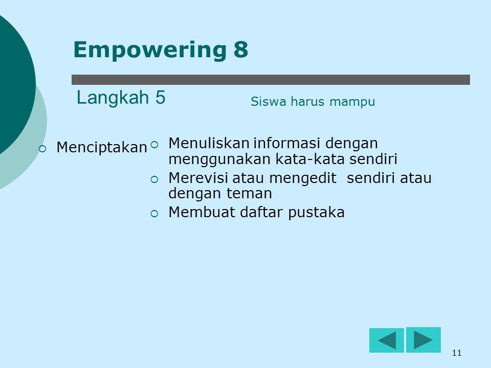 11 Langkah 5  Menciptakan  Menuliskan informasi dengan menggunakan kata-kata sendiri  Merevisi atau mengedit sendiri atau dengan teman  Membuat da