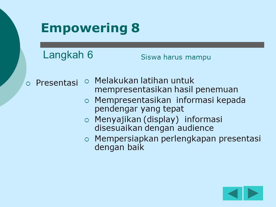 12 Langkah 6  Presentasi  Melakukan latihan untuk mempresentasikan hasil penemuan  Mempresentasikan informasi kepada pendengar yang tepat  Menyaji