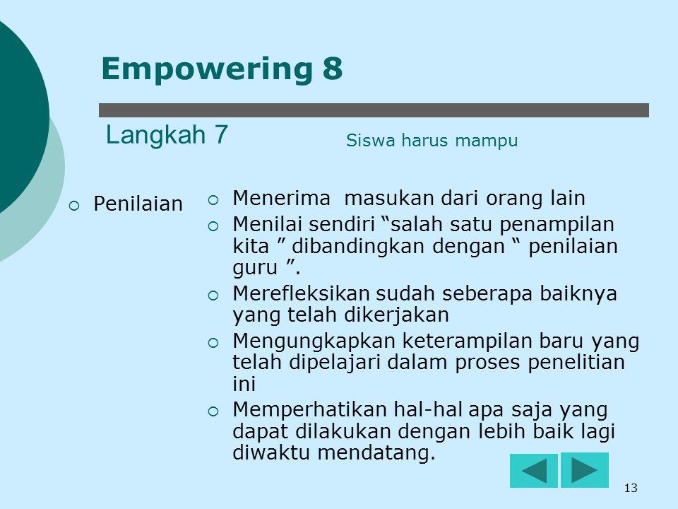 "13 Langkah 7  Penilaian  Menerima masukan dari orang lain  Menilai sendiri ""salah satu penampilan kita "" dibandingkan dengan "" penilaian guru "". "