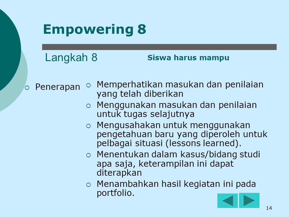 14 Langkah 8  Penerapan  Memperhatikan masukan dan penilaian yang telah diberikan  Menggunakan masukan dan penilaian untuk tugas selajutnya  Mengu