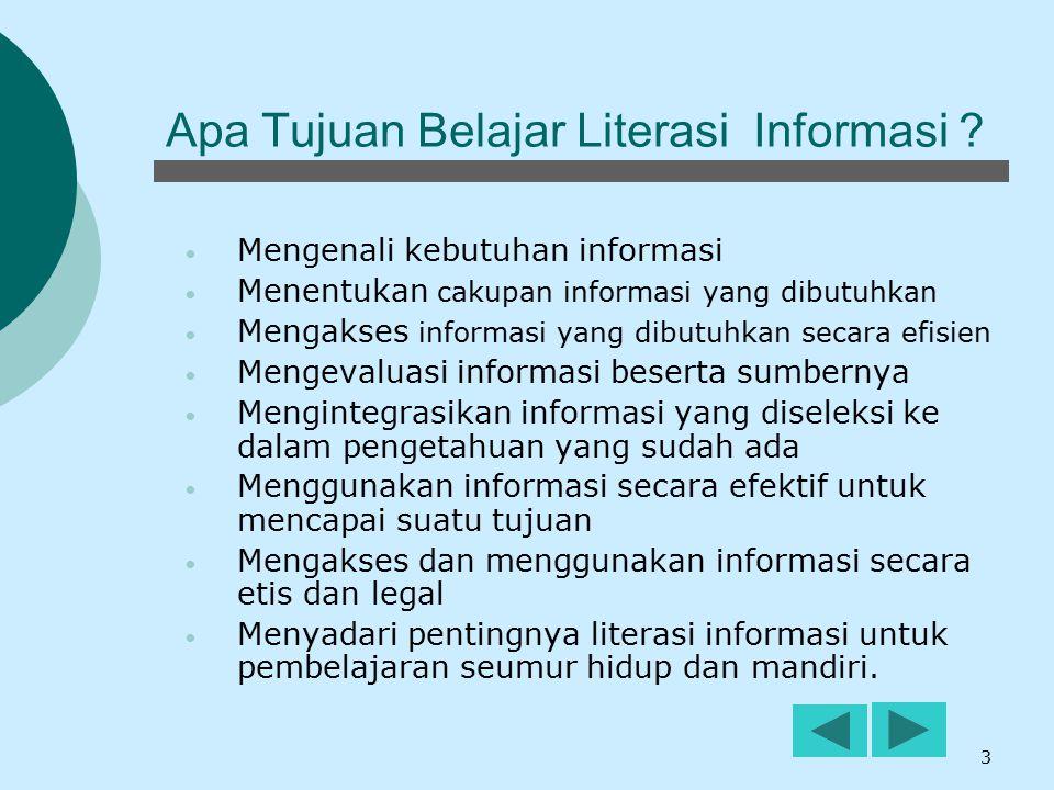 3 Apa Tujuan Belajar Literasi Informasi ? Mengenali kebutuhan informasi Menentukan cakupan informasi yang dibutuhkan Mengakses informasi yang dibutuhk