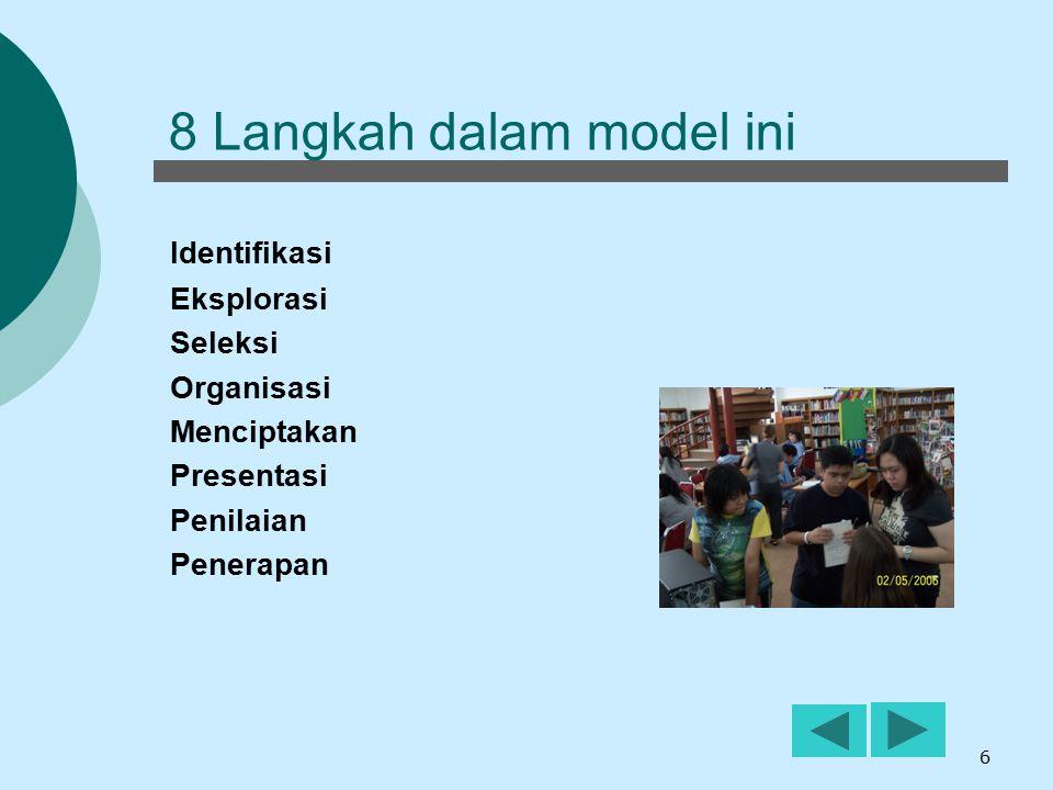 7 Langkah 1  Identifikasi  Menentukan topik  Menentukan siapa sasaran pendengar  Menentukan format yang cocok untuk hasil akhir  Mengidentifikasi kata kunci  Merencanakan strategi penelusuran  Mengidentifikasi jenis-jenis sumber lain dimana informasi dapat ditemukan Empowering 8 Siswa harus mampu