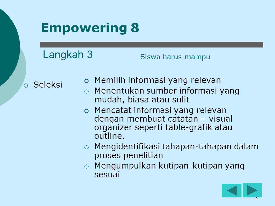 10 Langkah 4  Organisasi  Menyortir informasi  Membedakan antara fakta, pendapat, fiksi  Memeriksa bias yang berasal dari sumber  Menggunakan alat bantu visual untuk membandingkan atau mengkontraskan informasi Empowering 8 Siswa harus mampu