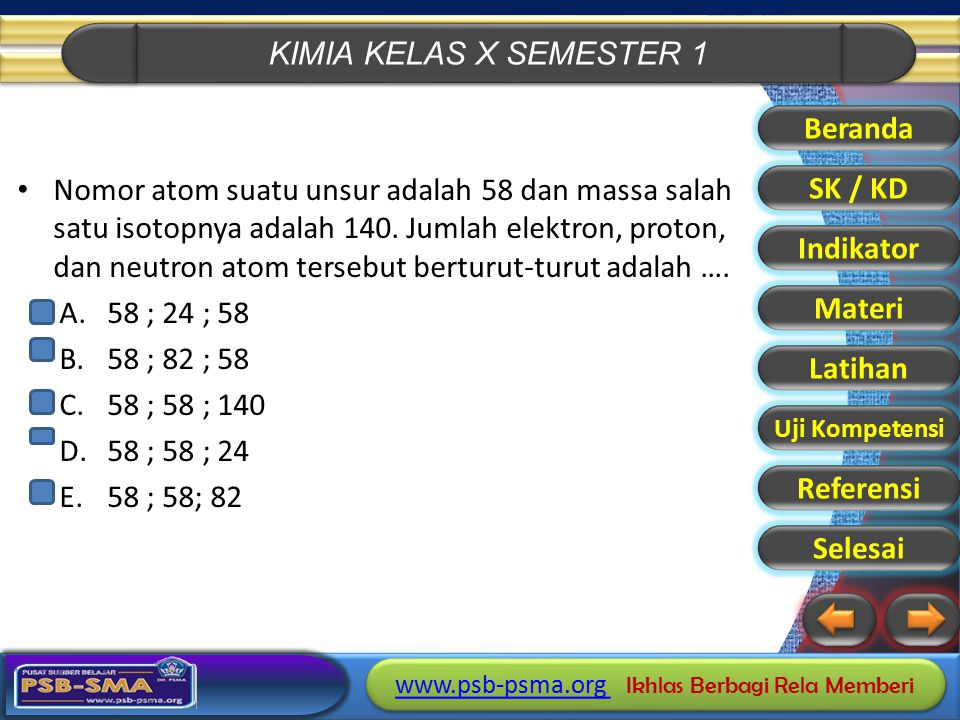 KIMIA KELAS X SEMESTER 1 www.psb-psma.org www.psb-psma.org Ikhlas Berbagi Rela Memberi www.psb-psma.org www.psb-psma.org Ikhlas Berbagi Rela Memberi Nomor atom suatu unsur adalah 58 dan massa salah satu isotopnya adalah 140.