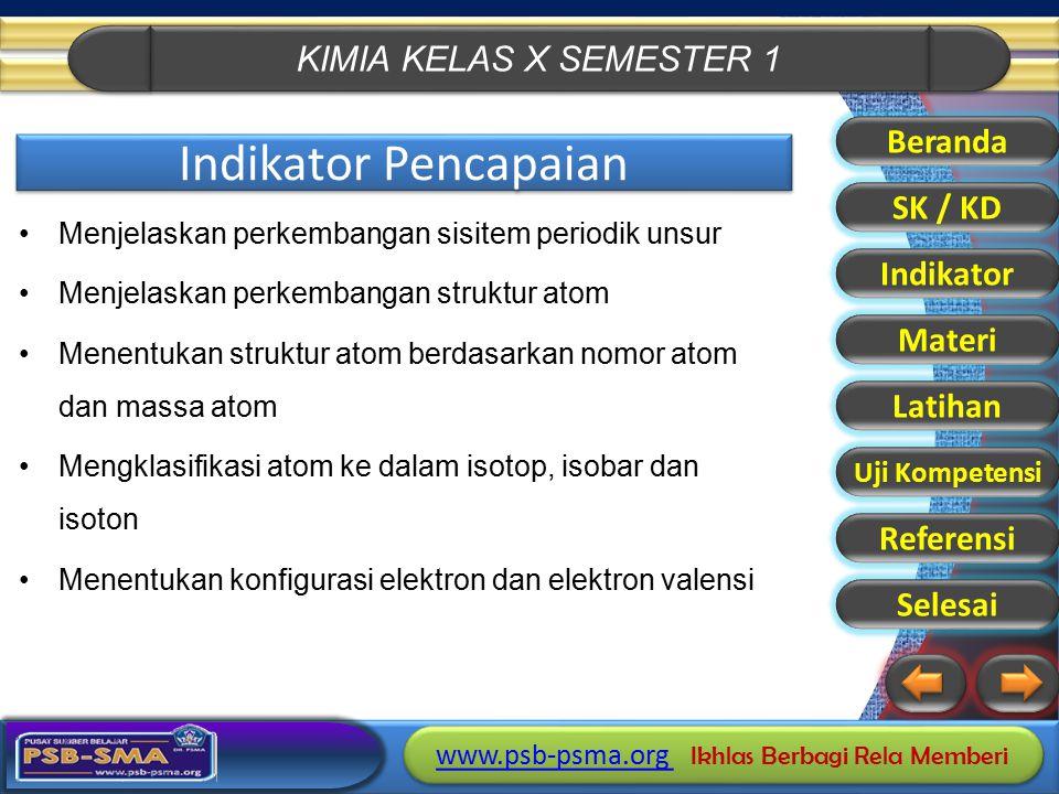 KIMIA KELAS X SEMESTER 1 www.psb-psma.org www.psb-psma.org Ikhlas Berbagi Rela Memberi www.psb-psma.org www.psb-psma.org Ikhlas Berbagi Rela Memberi I