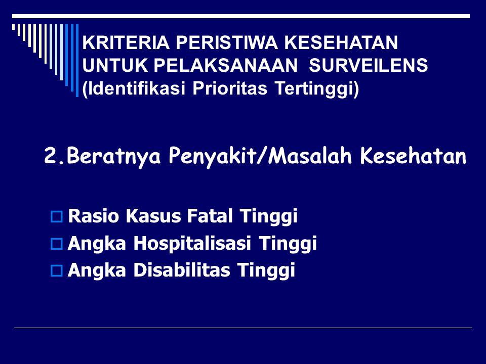 2.Beratnya Penyakit/Masalah Kesehatan  Rasio Kasus Fatal Tinggi  Angka Hospitalisasi Tinggi  Angka Disabilitas Tinggi KRITERIA PERISTIWA KESEHATAN