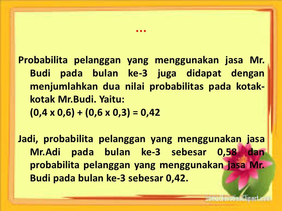 … Probabilita pelanggan yang menggunakan jasa Mr. Budi pada bulan ke-3 juga didapat dengan menjumlahkan dua nilai probabilitas pada kotak- kotak Mr.Bu