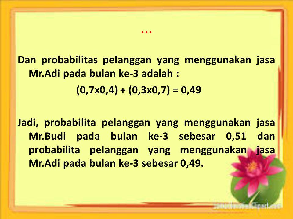 … Dan probabilitas pelanggan yang menggunakan jasa Mr.Adi pada bulan ke-3 adalah : (0,7x0,4) + (0,3x0,7) = 0,49 Jadi, probabilita pelanggan yang mengg