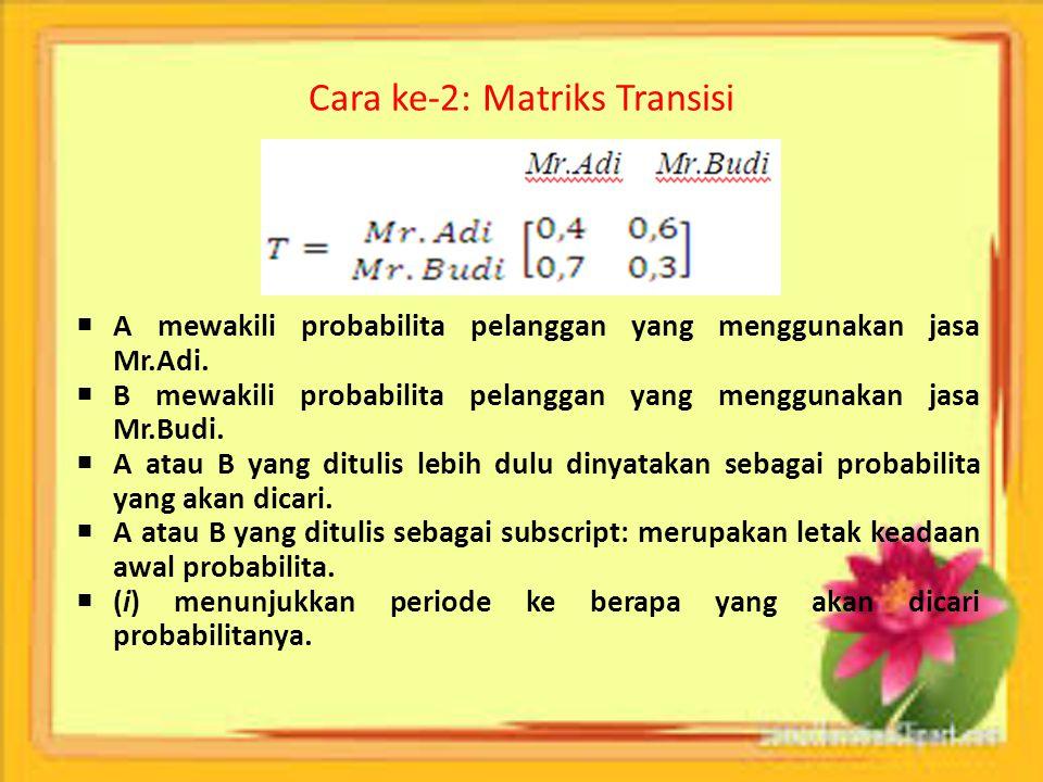 Cara ke-2: Matriks Transisi  A mewakili probabilita pelanggan yang menggunakan jasa Mr.Adi.  B mewakili probabilita pelanggan yang menggunakan jasa