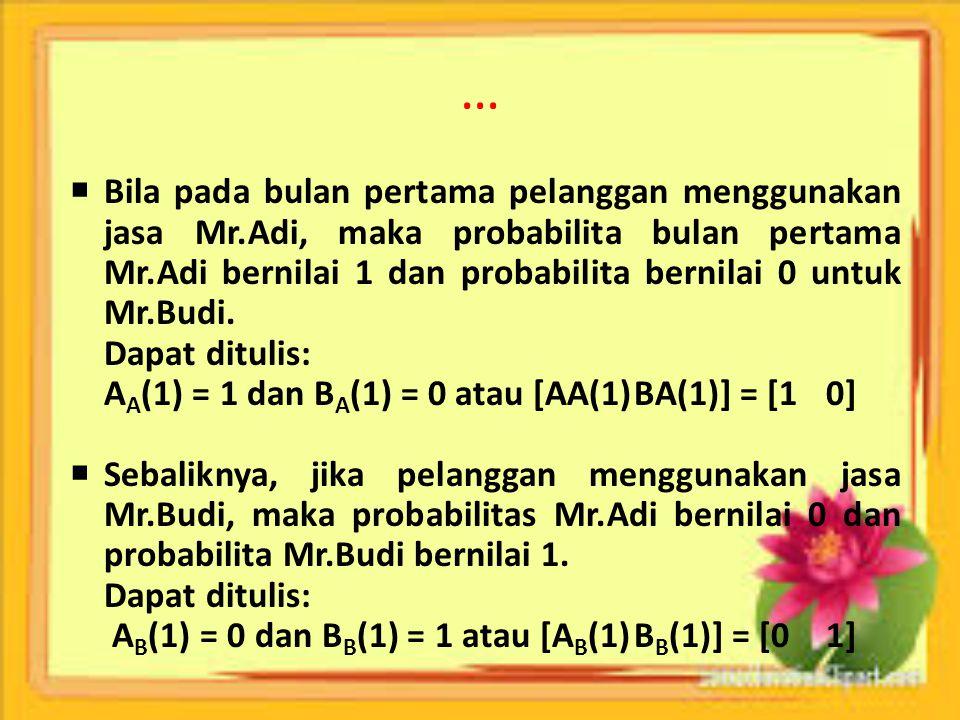 …  Bila pada bulan pertama pelanggan menggunakan jasa Mr.Adi, maka probabilita bulan pertama Mr.Adi bernilai 1 dan probabilita bernilai 0 untuk Mr.Bu