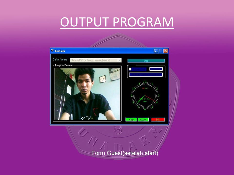 OUTPUT PROGRAM Form Guest(setelah start)