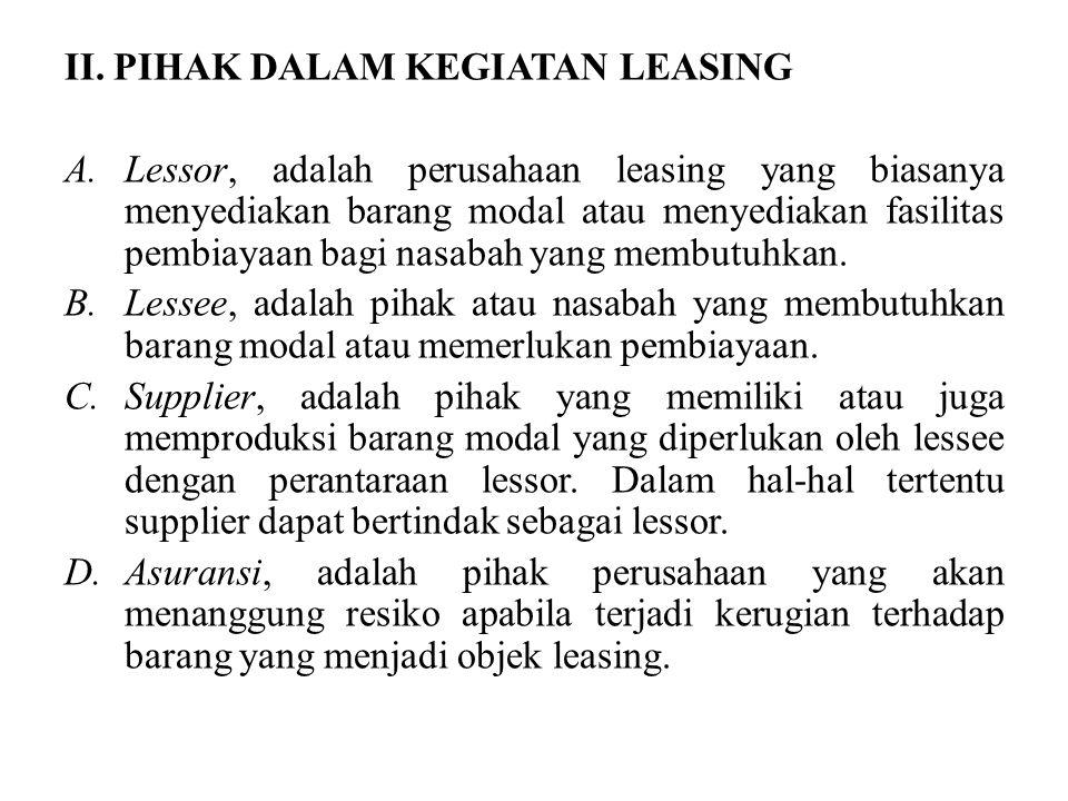 II. PIHAK DALAM KEGIATAN LEASING A.Lessor, adalah perusahaan leasing yang biasanya menyediakan barang modal atau menyediakan fasilitas pembiayaan bagi