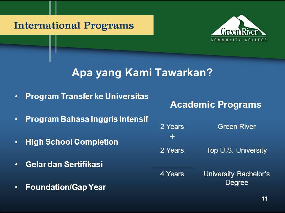 Apa yang Kami Tawarkan? Program Transfer ke Universitas Program Bahasa Inggris Intensif High School Completion Gelar dan Sertifikasi Foundation/Gap Ye