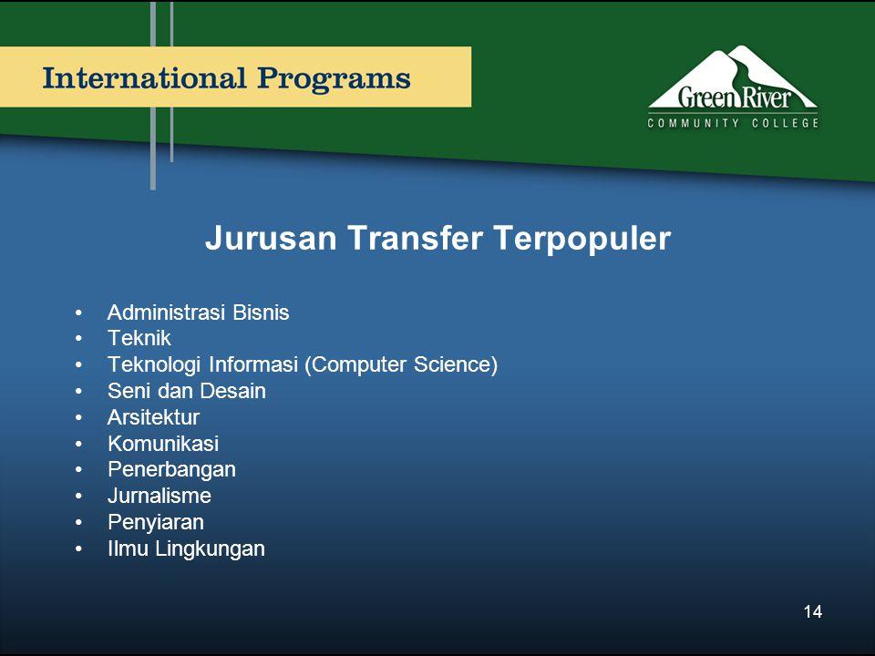 Jurusan Transfer Terpopuler Administrasi Bisnis Teknik Teknologi Informasi (Computer Science) Seni dan Desain Arsitektur Komunikasi Penerbangan Jurnal