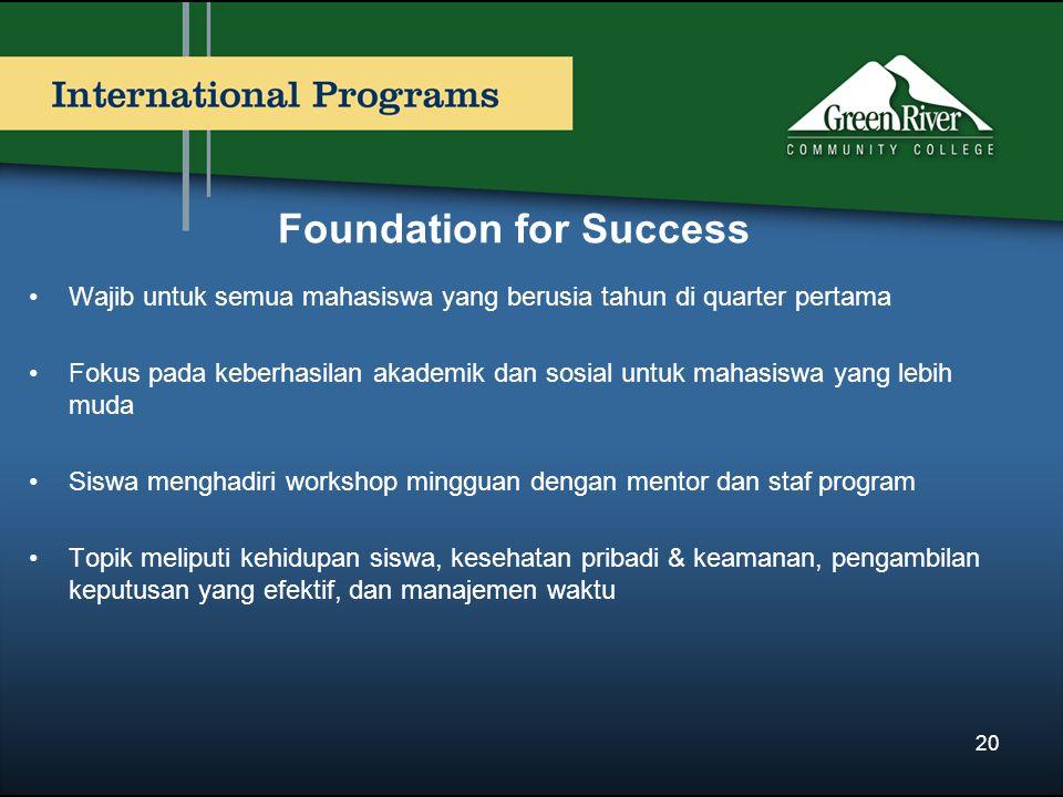 Foundation for Success Wajib untuk semua mahasiswa yang berusia tahun di quarter pertama Fokus pada keberhasilan akademik dan sosial untuk mahasiswa yang lebih muda Siswa menghadiri workshop mingguan dengan mentor dan staf program Topik meliputi kehidupan siswa, kesehatan pribadi & keamanan, pengambilan keputusan yang efektif, dan manajemen waktu 20