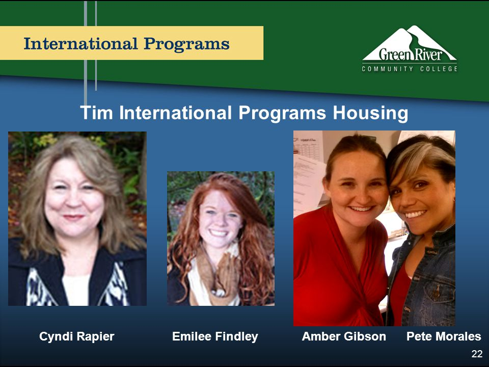 Tim International Programs Housing 22 Cyndi Rapier Emilee Findley Amber Gibson Pete Morales