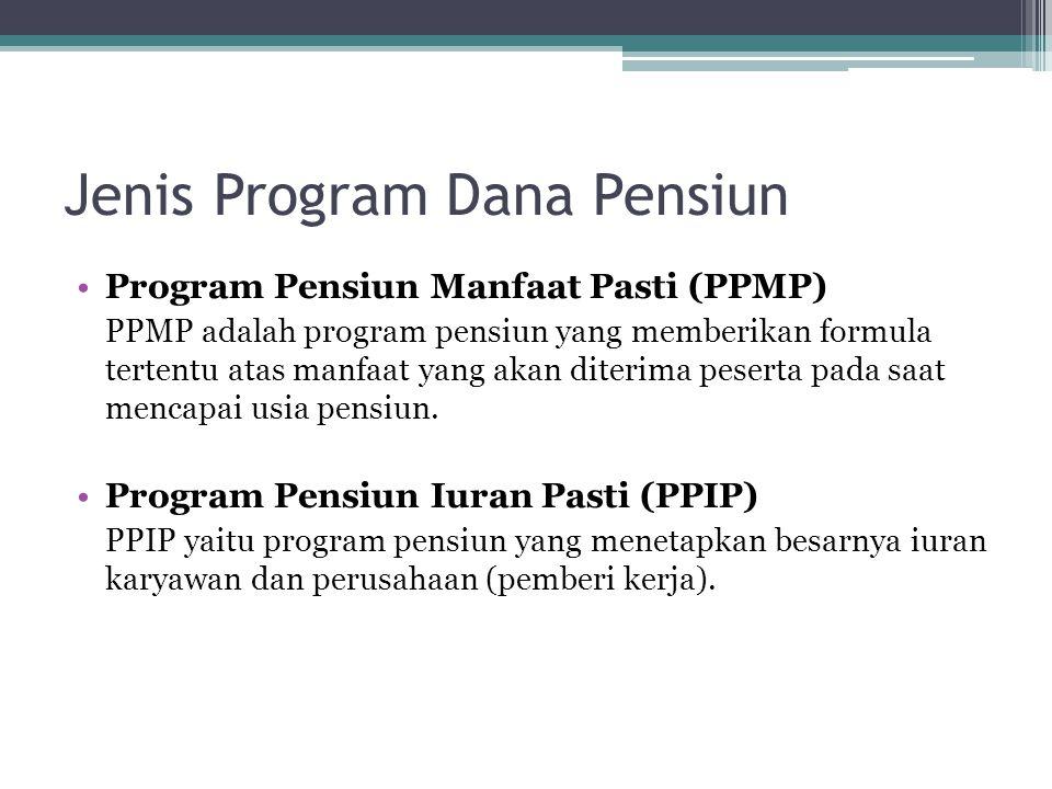 Jenis Program Dana Pensiun Program Pensiun Manfaat Pasti (PPMP) PPMP adalah program pensiun yang memberikan formula tertentu atas manfaat yang akan di