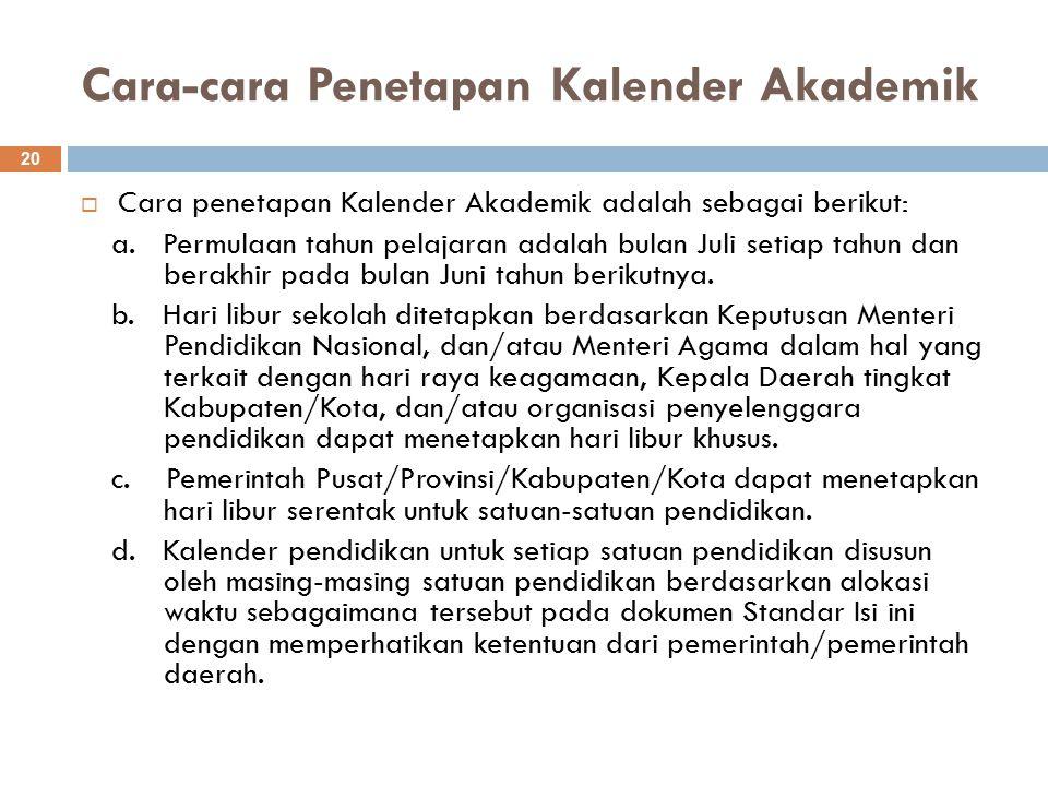 Cara-cara Penetapan Kalender Akademik 20  Cara penetapan Kalender Akademik adalah sebagai berikut: a.