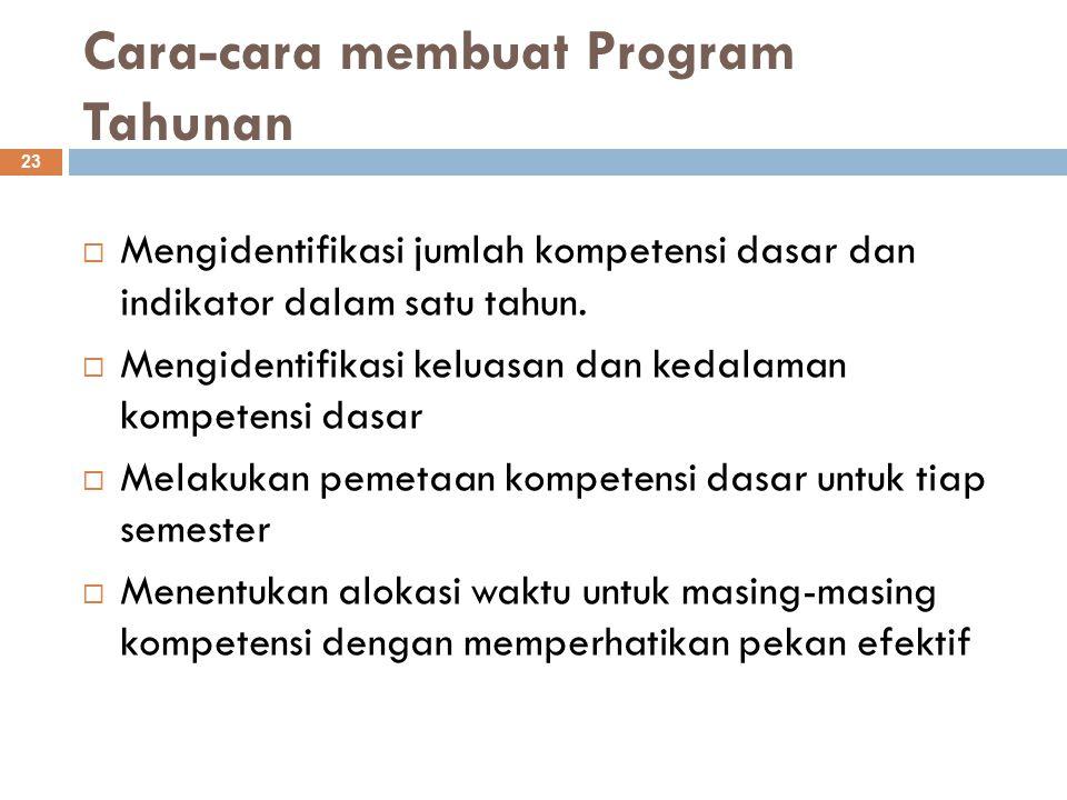 Cara-cara membuat Program Tahunan 23  Mengidentifikasi jumlah kompetensi dasar dan indikator dalam satu tahun.