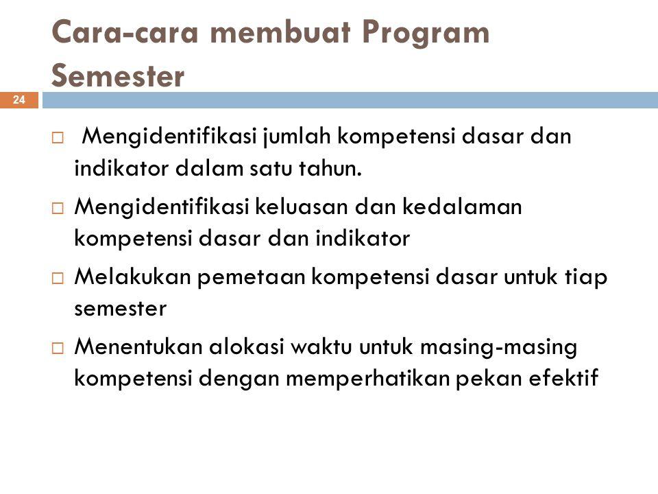 Cara-cara membuat Program Semester 24  Mengidentifikasi jumlah kompetensi dasar dan indikator dalam satu tahun.