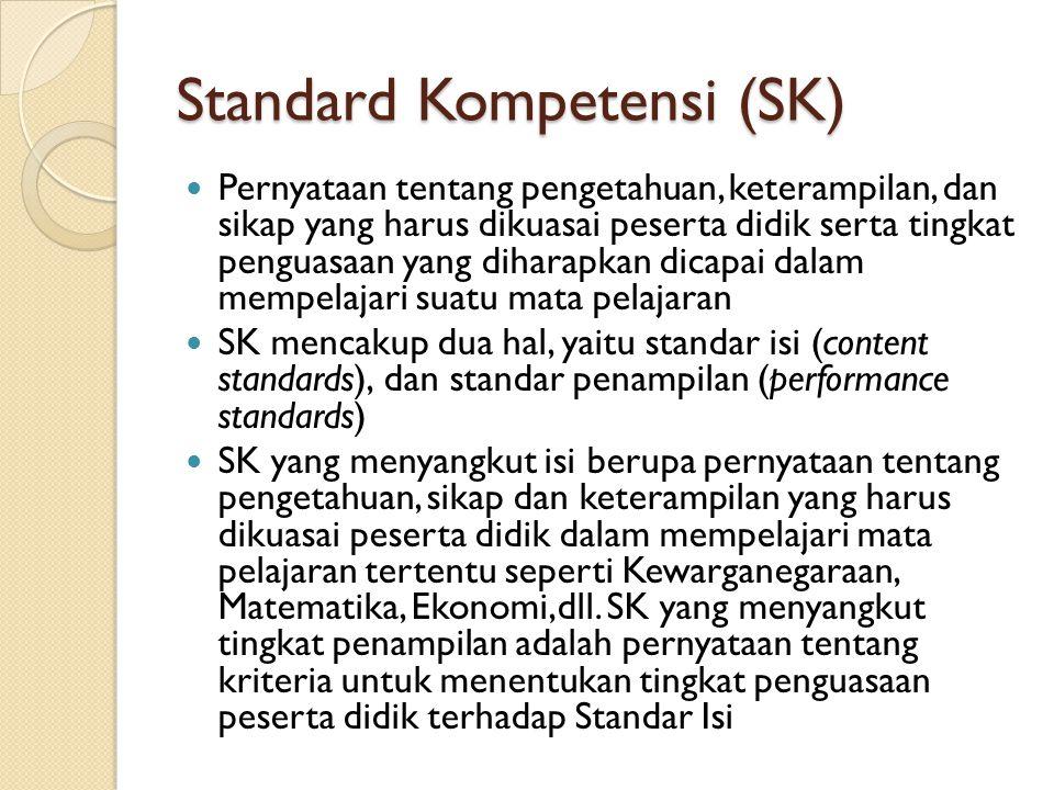 Standard Kompetensi (SK) Pernyataan tentang pengetahuan, keterampilan, dan sikap yang harus dikuasai peserta didik serta tingkat penguasaan yang diharapkan dicapai dalam mempelajari suatu mata pelajaran SK mencakup dua hal, yaitu standar isi (content standards), dan standar penampilan (performance standards) SK yang menyangkut isi berupa pernyataan tentang pengetahuan, sikap dan keterampilan yang harus dikuasai peserta didik dalam mempelajari mata pelajaran tertentu seperti Kewarganegaraan, Matematika, Ekonomi,dll.