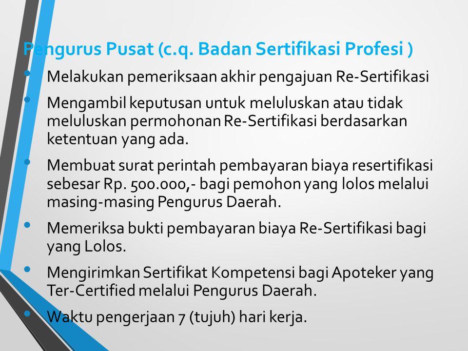 Pengurus Daerah : Melaksanakan Pemeriksaan Berkas (Verifikasi Kelengkapan Administrasi). Melaksanakan Pemeriksaan entri data (Excel) yang disampaikan