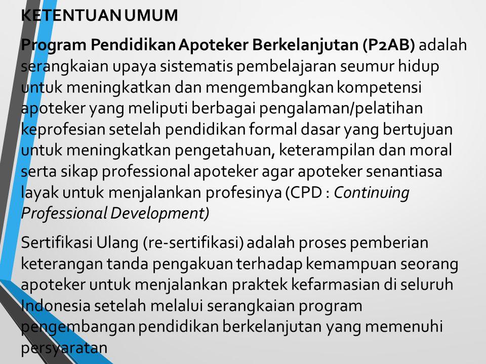 STANDAR KOMPETENSI APOTEKER INDONESIA 1.Mampu Melakukan Praktik Kefarmasian Secara Profesional dan Etik 2.Mampu Menyelesaikan Masalah Terkait Dengan Penggunaan Sediaan Farmasi 3.Mampu Melakukan Dispensing Sediaan Farmasi dan Alat Kesehatan 4.Mampu Memformulasi dan Memproduksi Sediaan Farmasi dan Alat Kesehatan Sesuai Standar Yang Berlaku 5.Mempunyai Ketrampilan Dalam Pemberian Informasi Sediaan Farmasi dan Alat Kesehatan 6.Mampu Berkontribusi Dalam Upaya Preventif dan Promotif Kesehatan Masyarakat 7.Mampu Mengelola Sediaan Farmasi dan Alat Kesehatan Sesuai Dengan Standar Yang Berlaku 8.Mempunyai Ketrampilan Organisasi dan Mampu Membangun Hubungan Interpersonal Dalam Melakukan Praktik Kefarmasian 9.Mampu Mengikuti Perkembangan Ilmu Pengetahuan dan Teknologi Yang Berhubungan Dengan Kefarmasian
