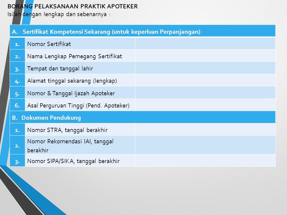BORANG PRAKTIK PROFESI Borang Praktik Profesi (Lampiran 4) berisi data/informasi terkait pelaksanaan praktik kefarmasian yang telah dilaksanakan oleh