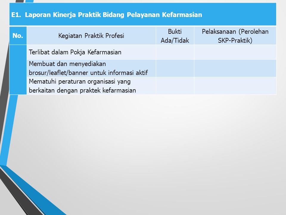 E1. Laporan Kinerja Praktik Bidang Pelayanan Kefarmasian No.Kegiatan Praktik Profesi Bukti Ada/Tidak Pelaksanaan (Perolehan SKP-Praktik) Terlibat dala