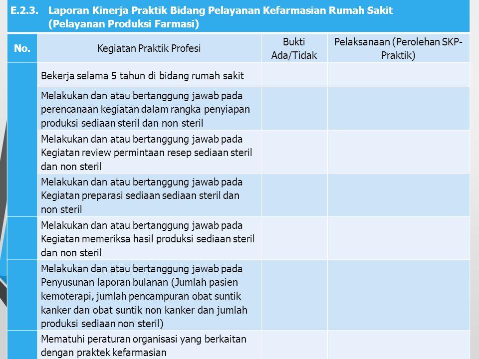 E.2.2. Laporan Kinerja Praktik Bidang Pelayanan Kefarmasian Rumah Sakit (Central Sterile Supply Department) No.Kegiatan Praktik Profesi Bukti Ada/Tida