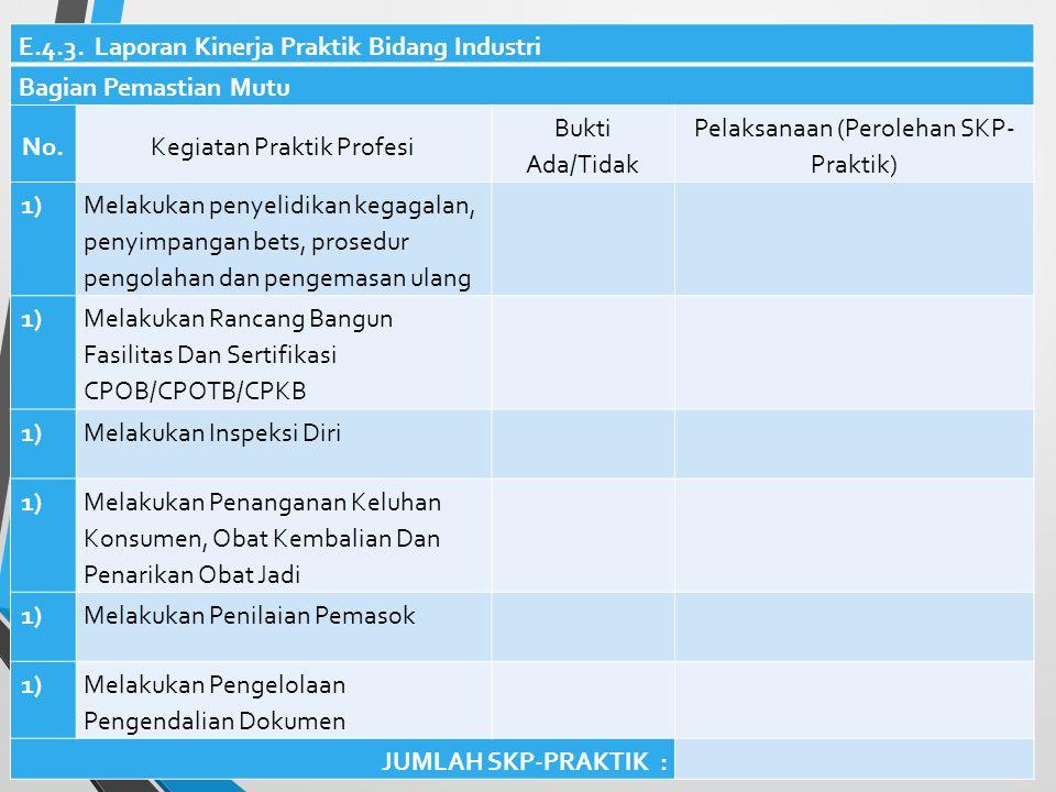 E.4.2. Laporan Kinerja Praktik Bidang Industri Bagian Produksi No.Kegiatan Praktik Profesi Bukti Ada/Tidak Pelaksanaan (Perolehan SKP- Praktik) 1) Mem