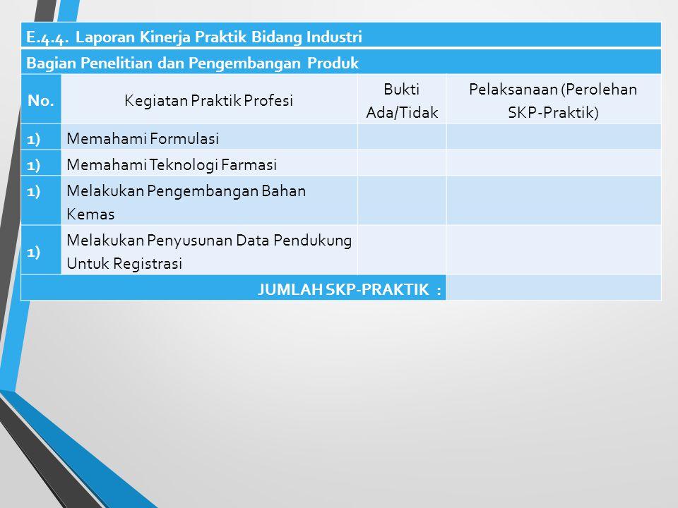 E.4.3. Laporan Kinerja Praktik Bidang Industri Bagian Pemastian Mutu No.Kegiatan Praktik Profesi Bukti Ada/Tidak Pelaksanaan (Perolehan SKP- Praktik)