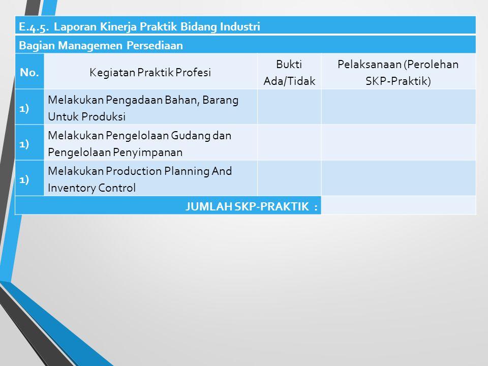 E.4.4. Laporan Kinerja Praktik Bidang Industri Bagian Penelitian dan Pengembangan Produk No.Kegiatan Praktik Profesi Bukti Ada/Tidak Pelaksanaan (Pero