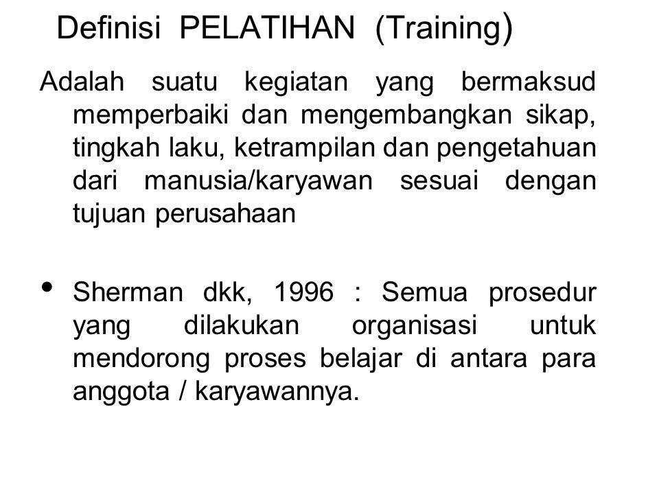 Definisi PELATIHAN (Training ) Adalah suatu kegiatan yang bermaksud memperbaiki dan mengembangkan sikap, tingkah laku, ketrampilan dan pengetahuan dar